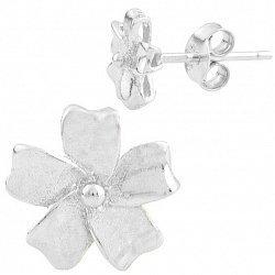 Серебряные серьги-пуссеты Цветок-василек