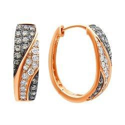 Золотые серьги-конго в комбинированном цвете с бриллиантами 000139458
