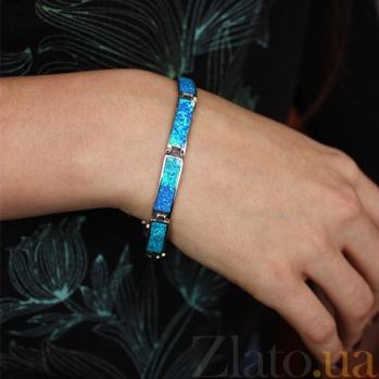 Серебряный браслет с синтезированным опалом Берлинская Лазурь 000032394