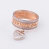 Золотое кольцо Грация с фианитами и подвеской в стиле Тиффани