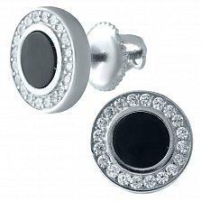 Серебряные серьги-пуссеты Вайнона с ониксом и фианитами