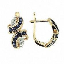 Золотые серьги с бриллиантами и сапфирами Арника