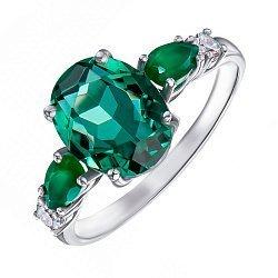 Серебряное кольцо с зеленым кварцем, зелеными агатами и фианитами 000133076