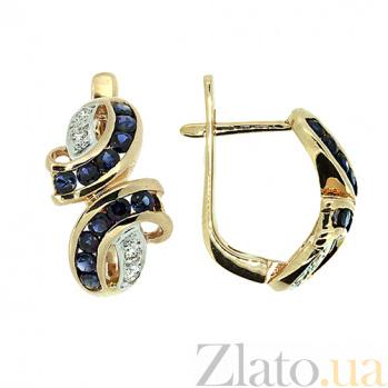 Золотые серьги с бриллиантами и сапфирами Арника ZMX--ES-6118_K