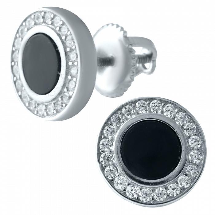 Серебряные серьги-пуссеты Вайнона с ониксом и фианитами 000068848