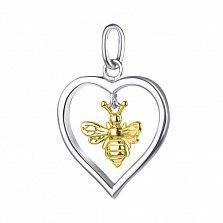 Серебряный подвес Сердце и пчелка с позолотой