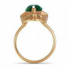 Золотое кольцо Изысканность Востока с изумрудом и дорожками фианитов