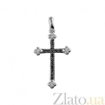 Золотой крест с черными бриллиантами Святость 000026758