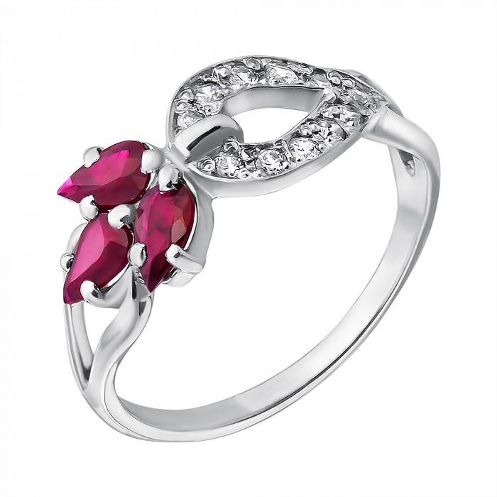 Серебряное кольцо Весенний росток с рубинами и цирконием 000061281