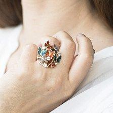 Золотое кольцо Краски лета с фианитами и разноцветной эмалью