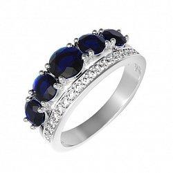 Серебряное кольцо с сапфирами и фианитами 000136554