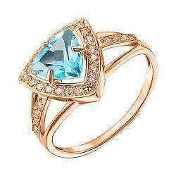 Кольцо из красного золота с голубым топазом и фианитами 000137283