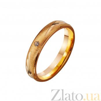 Золотое обручальное кольцо с фианитом Окрыленные любовью TRF--4121179