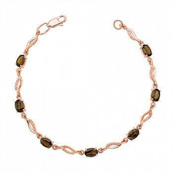 Браслет из красного золота с раухтопазами и фианитами 000132247