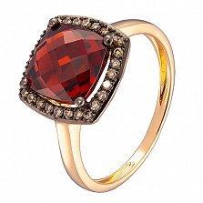 Кольцо в красном золоте Алла с гранатом и бриллиантами