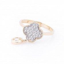 Золотое кольцо Корсика с фианитами в стиле Ван Клиф