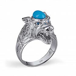 Серебряное кольцо Волчица с синтезированной синей шпинелью и синими альпинитами