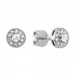 Серьги-пуссеты из белого золота с бриллиантами 000126331