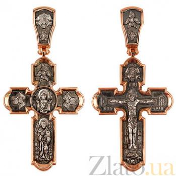 Золотой крестик с черным и белым родием Животворящий VLT--КС3016-1