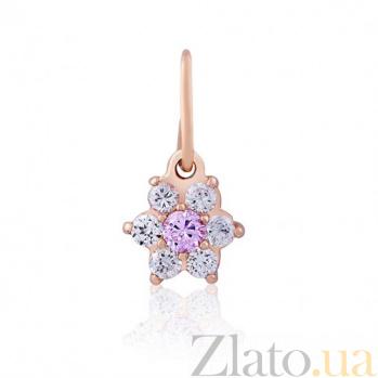 Золотой кулон Нежный цветок с розовым цирконием EDM--П040Р