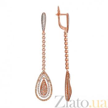 Серьги-подвески из красного золота с белым цирконием Кристин VLT--ТТ2298-2