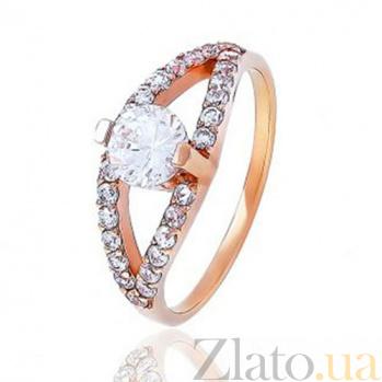 Золотое кольцо с цирконием Загадочный взгляд EDM--КД0470