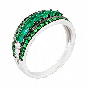 Золотое кольцо с изумрудами, цаворитами и бриллиантами Лесной причал 000029294