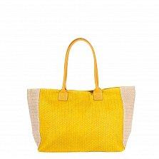 Кожаная сумка на каждый день Genuine Leather 8006 желтого цвета с молочными вставками, на молнии