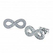 Серебряные серьги-пуссеты Бесконечность с фианитами