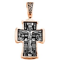 Православный крестик в комбинированном цвете золота с чернением и родированием 000125294