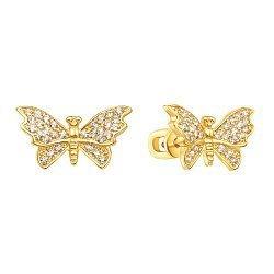 Золотые серьги-пуссеты Изящные бабочки в желтом цвете с усыпкой из фианитов