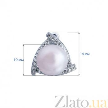 Серебряные серьги с жемчугом и фианитами Морская принцесса AQA--E00659PG
