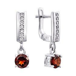 Серебряные серьги-подвески с гранатами и фианитами 000136774