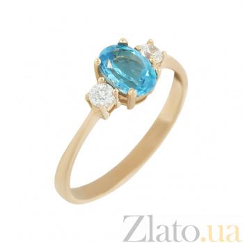 Золотое кольцо с топазом и фианитами Лора 2К480-0282