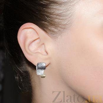 Серебряные серьги с позолотой и чернением Рипсиния Г-2счз/сер