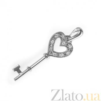Золотой подвес Ключик с белыми бриллиантами P0344-1/бел