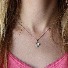 Серебряная подвеска Ангелок с позолотой и бриллиантами