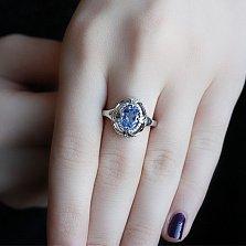 Серебряное кольцо Восточная сказка с кварцем цвета танзанит и цирконием