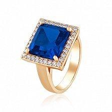 Золотое кольцо Север с корундом сапфира и фианитами