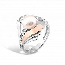 Серебряное кольцо Акулина с золотой накладкой, жемчугом и фианитами