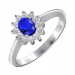 Серебряное кольцо с сапфировым и белым цирконием 000028354