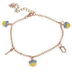 Серебряный браслет с эмалью Люблю Украину