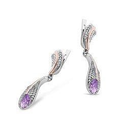 Серебряные серьги-подвески Лилия с золотыми накладками, фиолетовым алпанитом и фианитами