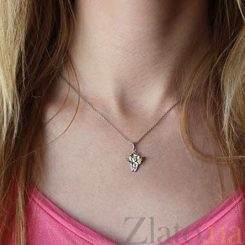 Серебряная подвеска Ангелок с позолотой и бриллиантами 000080769