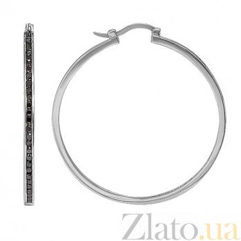 Серьги кольца с черными камнями Сваровски 10030108