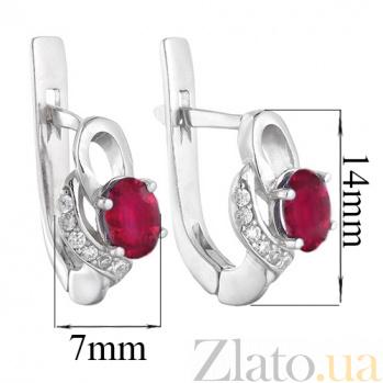 Серебряные серьги с рубином  Азон 2348/9р руб