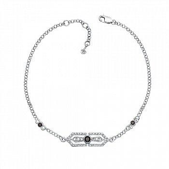 Браслет из белого золота с черными и белыми бриллиантами с родированием 000131500