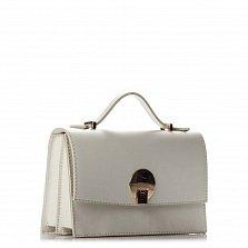 Кожаный клатч Genuine Leather 1520 серо-бежевого цвета с короткой ручкой и плечевым ремнем