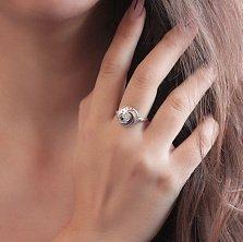 Серебряное кольцо Модный виток с белым цирконием в стиле Булгари