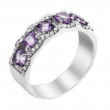 Серебряное кольцо Джульетта с аметистом и фианитами